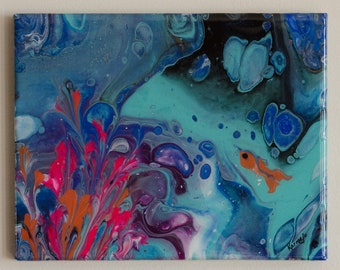 Small painting in aqua, pink, orange, and blue tones on a 8 x 10 in. gallery wrap canvas