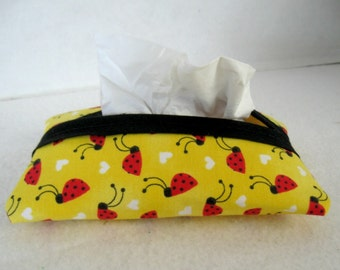 Ladybugs Tissue Holder Pocket Tissue Cozy Travel Size Yellow Red