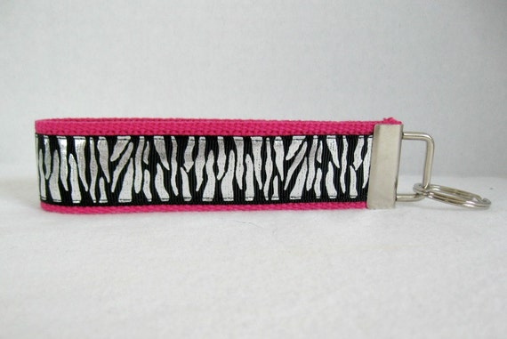 Zebra Shimmer Key Fob Glittery PINK Key Chain Silver Foil Animal Print  Large Keychain 079075039
