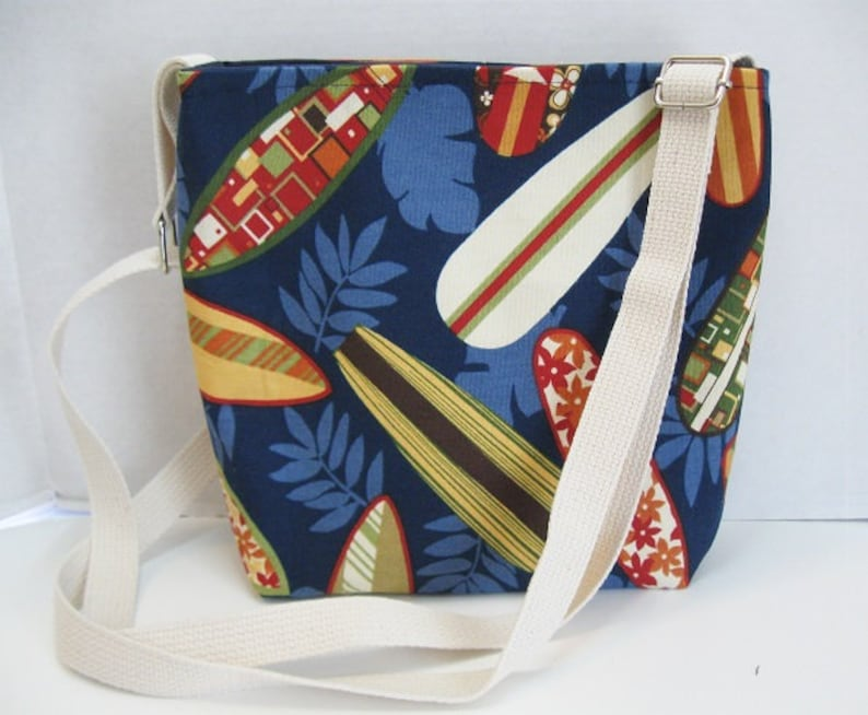 Inside Pockets Long Adjustable Strap Surfer Tote Bag Over the Shoulder Purse Handmade Cross Body Purse Surfboards Crossbody Bag