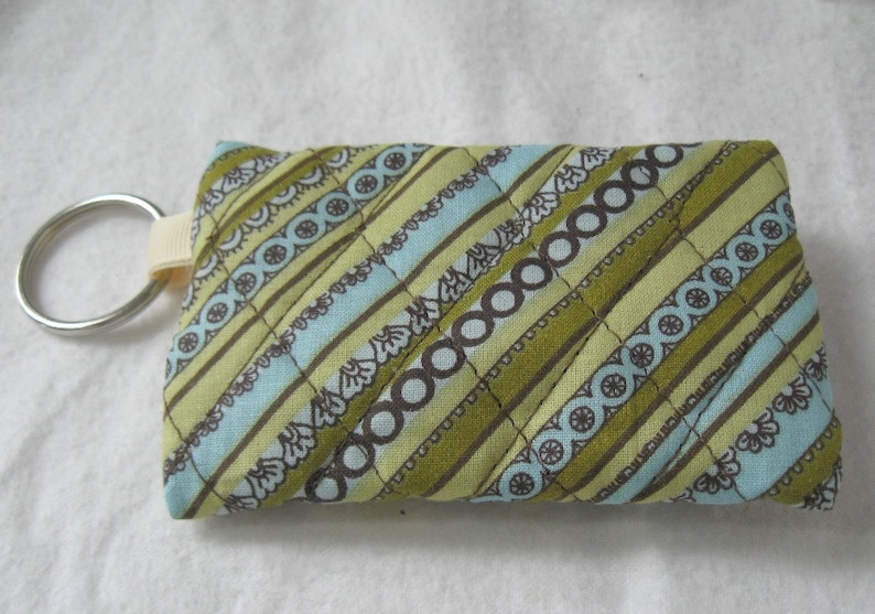 Ear Bud Holder Brown Celery Change Purse with Keychain Quilted Coin Purse Stripe Change Purse