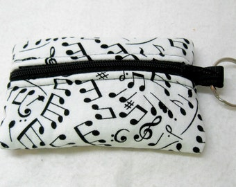 Coin Purse Music Notes Change Purse Small Zippered Pouch Black and White