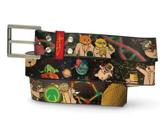 String Theory Cats Leather Belt, String Leather Belt, Cat Belt, Theory Leather Belt, Cartoon Science