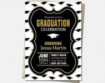 Black White & Gold Graduation Cap Invitations - PRINTABLE High School or College Graduation Party Invitation | glitter diy invites