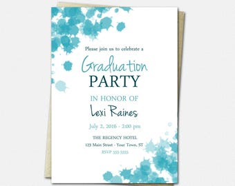 Ink Blots Graduation Invitation - High School College Graduation Party Invitations - 50 Colors - Printed or Printable | artsy modern invites