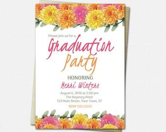 Dahlia Graduation Invitation - High School or College Graduation Invites - Floral Invitations - Printed or Printable | flower pink yellow