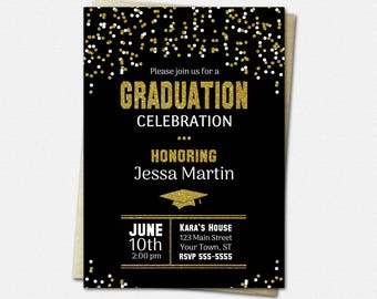 Black & Gold Graduation Invitations - PRINTABLE High School or College Graduation Party Invitation | glitter polka dots elegant cap