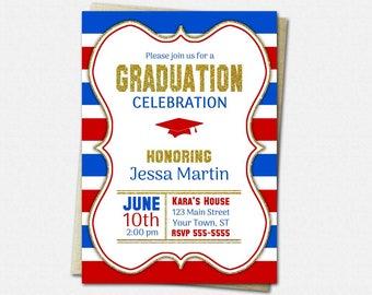 School Color Choice Graduation Invitation - PRINTABLE High School or College Graduation Invitations | striped gold glitter