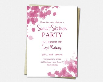 Sweet 16 Birthday Invitations - Birthday Invitations for Girls - Sweet 16 Invitation - Dragonfruit Ink Blots - Sweet Sixteen Invitation