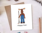 Happy Fall Card - Moose Greeting Cards