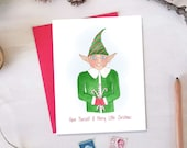 Merry Little Christmas Card - Christmas Elf Holiday Card - Set of 10