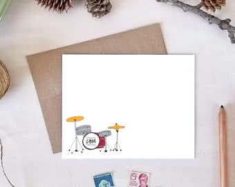 Monogram Drums Flat Note Card Set - Drums Stationery - Gifts for Music or Band Teachers