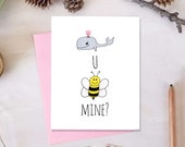 Whale You Bee Mine? Valentine's Day Card | Anniversary Card