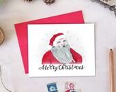 Santa Claus Merry Christmas Card   Christmas Holiday Card - Set of 10