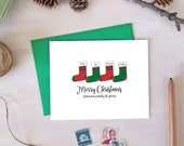 Merry Christmas Card with Personalized Stockings for the Whole Family