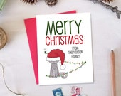 Personalized Merry Christmas Card with Cat in Santa's Hat