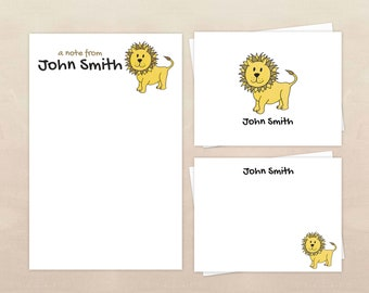 Folded Note Cards Note Cards for boys Kids Stationery Lion Note Cards Note Cards for Kids Lion Stationery Lion Thank You Notes