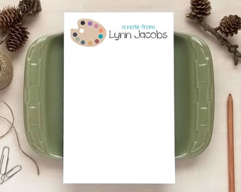 Personalized Notepad - Paint Palette Notepad - Stationery for Artists or Art Teachers - Art Teacher Gift