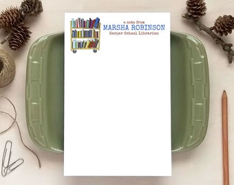 Book Rack Notepad for Teachers or Librarians - Personalized Notepads - Stationery Gifts