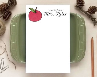 Red Apple Notepad - Personalized Notepads - Stationery Gifts for Teachers