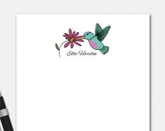 Hummingbird Notepad, Personalized Stationery, Personalised Stationary, Hummingbird Stationery