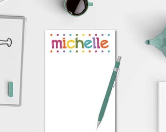 Personalized Notepad - Colorful Lights Notepad - Cute Notepad for Girls - Personalized Stationery - Teacher Notepad - Notepad for Her