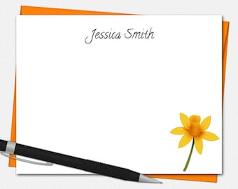 Personalized Daffodil Note Cards - Set of 10 - Flat Note Cards - Daffodil Stationery - Daffodil Note Cards