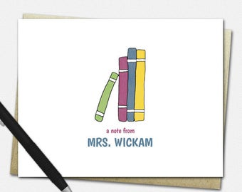 Stack of Books Note Cards - Personalized Note Cards for Teachers - Teacher Gifts - Set of 10 - Folded Note Cards - Teacher Stationery