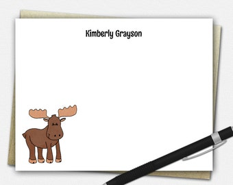 Moose Note Card Set - Personalized Note Cards - Flat Notecards   custom rustic moose gifts animal