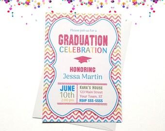 Pink Glitter and Chevron Graduation Invitation - High School or College Graduation Invitation - Printed or Printable | girl rainbow