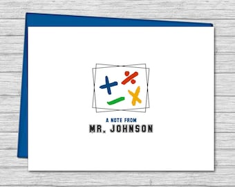 Personalized Note Cards for Math Teachers - Teacher Gifts - Custom Stationery for Teachers - Folded Note Card | Math Symbols