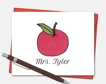 Personalized Note Cards - Apple Note Cards for Teachers - Set of 10 Folded Note Cards - Teacher Gifts - Custom Note Cards