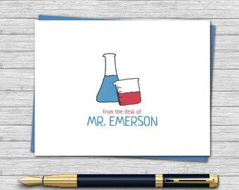 Personalized Note Cards for Science Teachers - Teacher Gifts - Custom Stationery for Teachers - Folded Note Card | Beakers