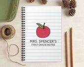 Red Apple Teacher Notebook -  Teacher Gift - Personalized Gift for Teachers