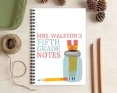 Pencil Jar Teacher Notebook -  Teacher Gift - Personalized Gift for Teachers