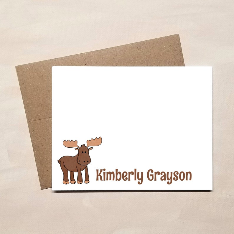 Personalized Moose Note Cards - FLAT