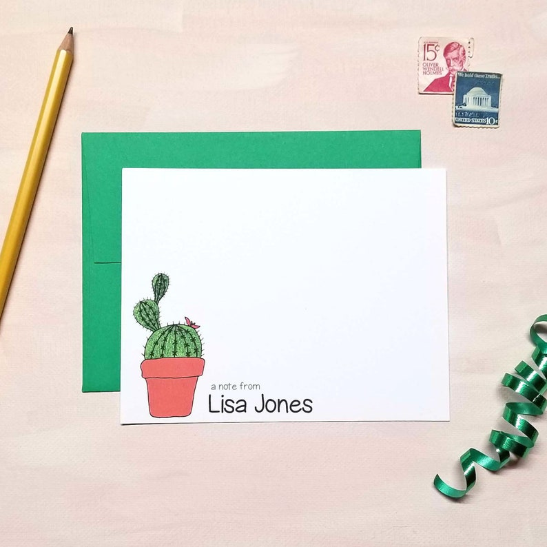 Personalized Cactus Note Cards for Women - Flat