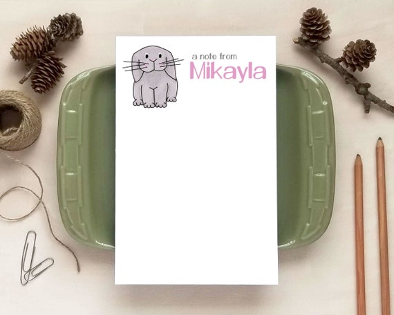 Personalized Children Stationery Personalized Bunny Notepad Gift for Girls Custom Notepad 50 Sheets Notepad Personalized Notepad