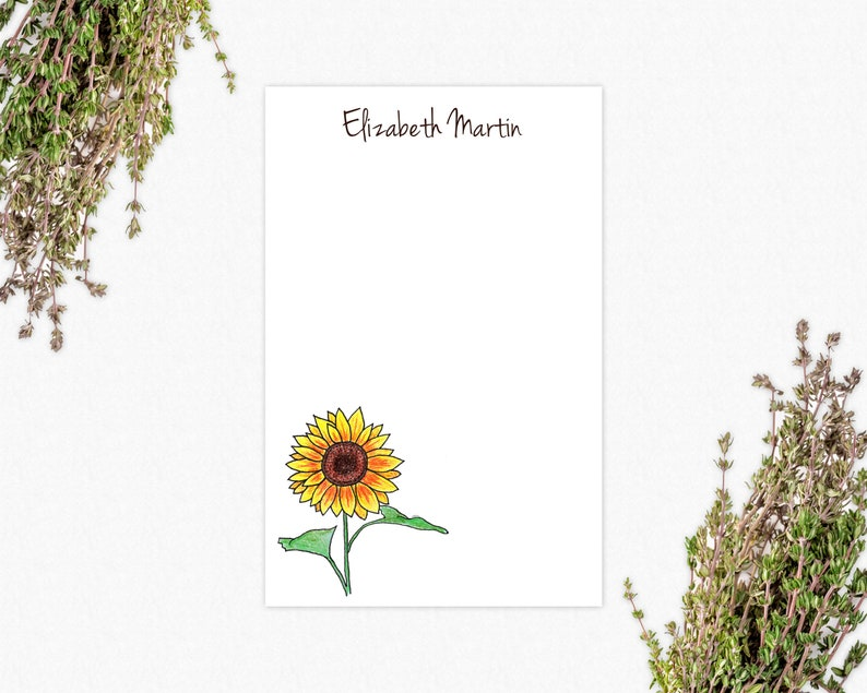 Personalized Notepad - Sunflowers | VLHamlinDesign