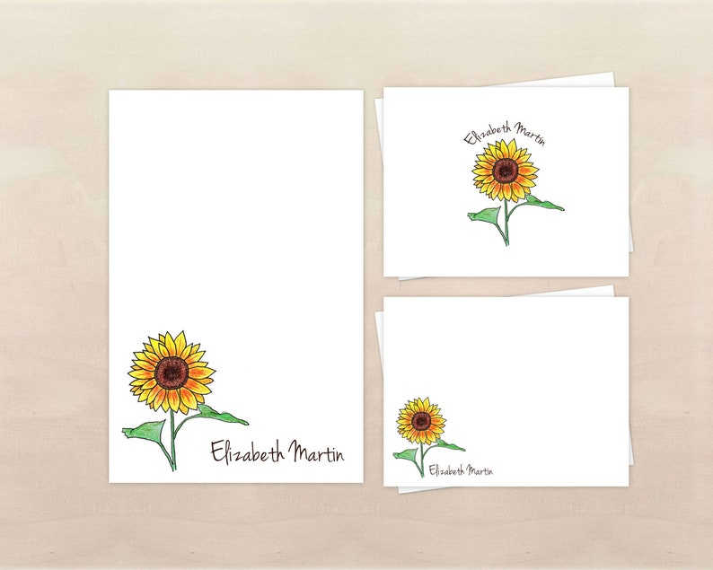 Sunflower Gift Set  Personalized Floral Stationery with image 0