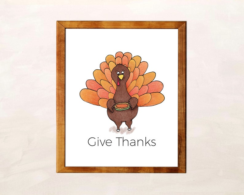 Give Thanks Wall Art Sign Turkey Printable for Thanksgiving image 0