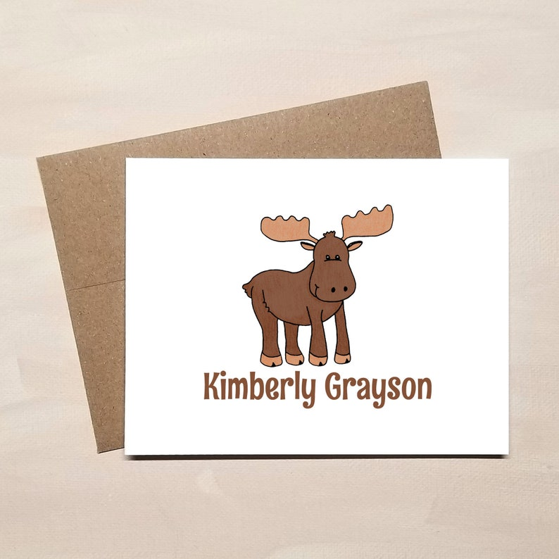 Personalized Moose Note Cards - FOLDED