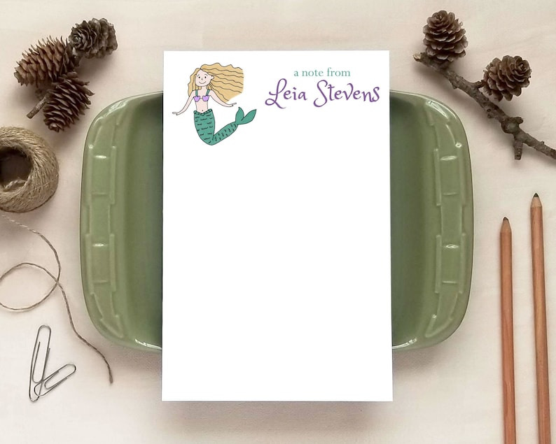 Custom Mermaid Notepad for Girls Personalized Notepads image 0