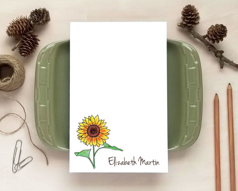Sunflower Notepad for Women  Personalized Floral Notepads  image 0