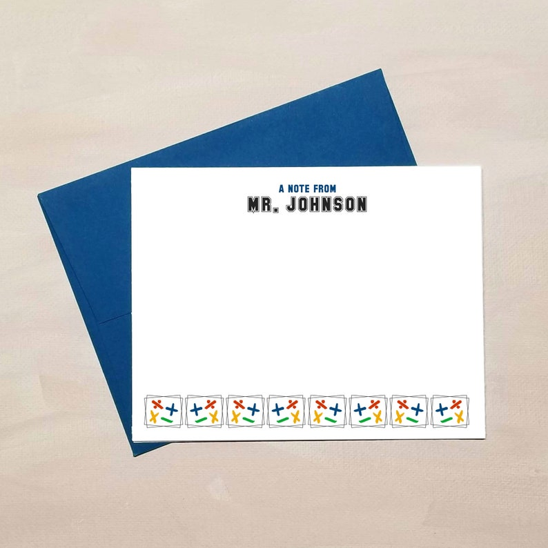 Personalized Stationery Gifts Math Flat Note Card Set for Teachers