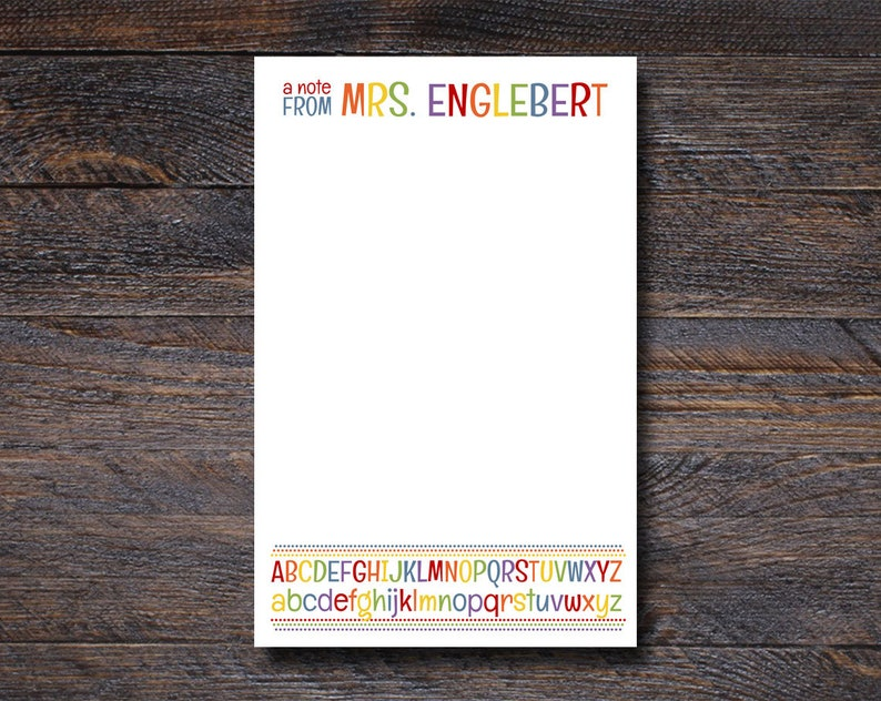 Personalized Notepad | Alphabet Teacher Gifts | Custom Stationery Gift for Teachers