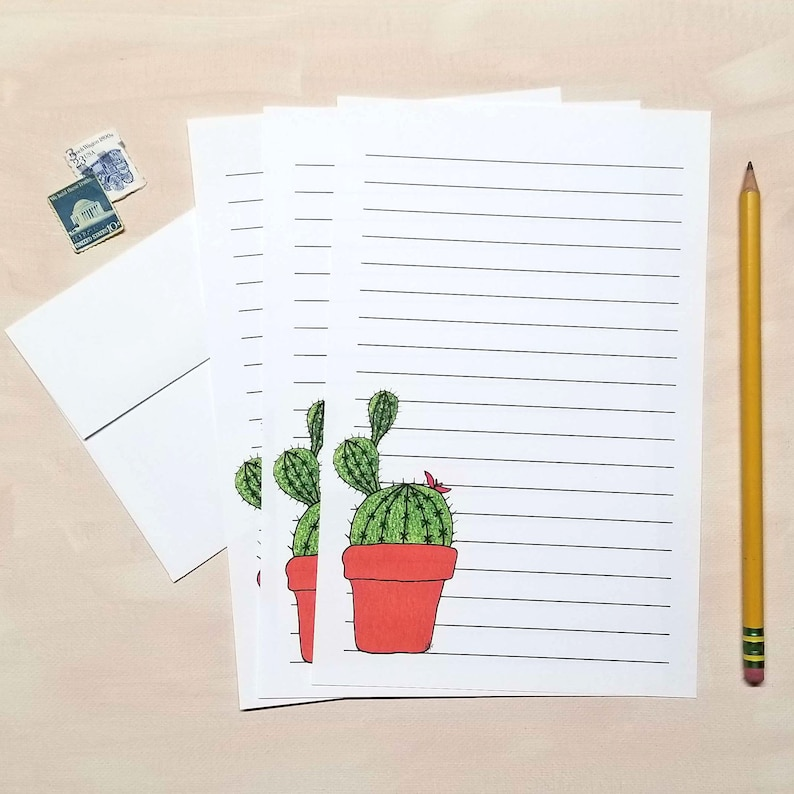 Cactus Stationery Paper with Envelopes
