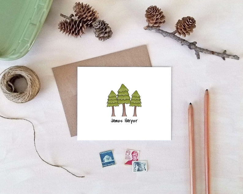 Custom Stationary for Boys Folded Note Card Set Stationery Gifts for Men Personalized Note Cards for Him PINE TREE