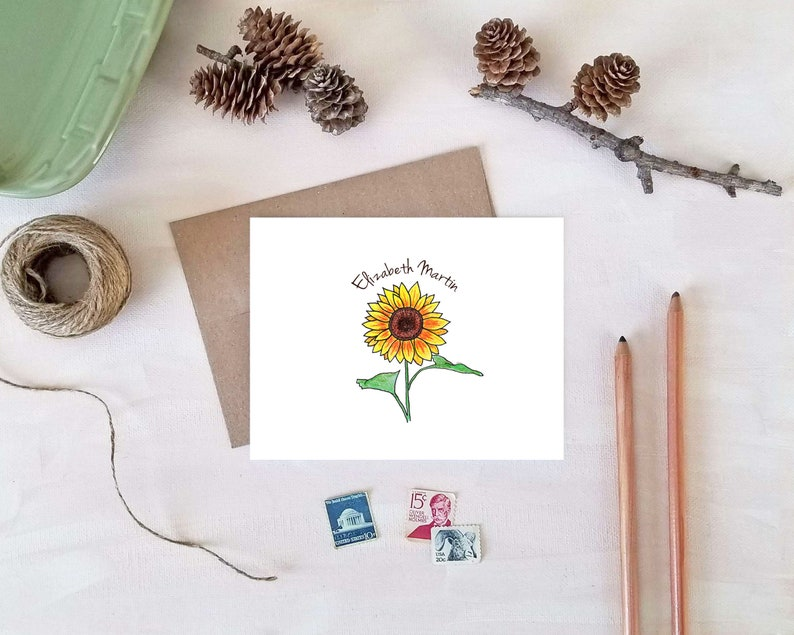 Sunflower Note Cards  Personalized Stationery  Sunflower image 0