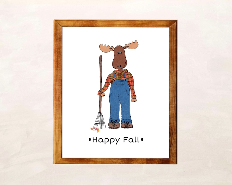 Happy Fall Sign - Moose Print